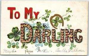 c1910s Large Letter Greetings Postcard TO MY DARLING Valentine's Romance