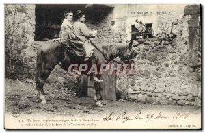 Old Postcard Folklore Velay Horse