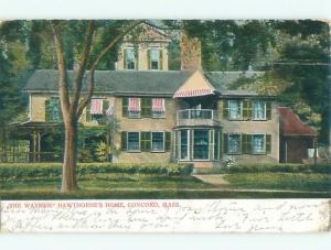 Pre-1907 NATHANIEL HAWTHORNE HOME - THE WAYSIDE Concord Massachusetts MA Q1944