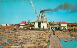 Ashland Wisconsin 1950s Logging Lumber Industry Pulpwood Hoist Postcard 3373