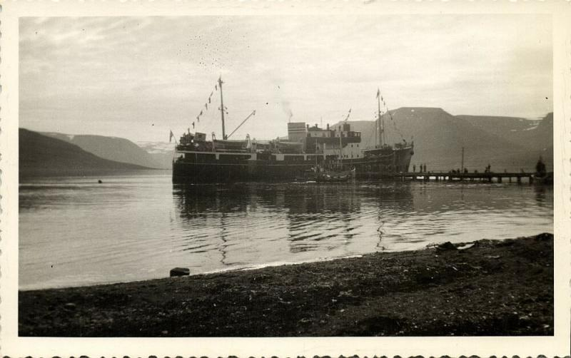 iceland, Icelandic State Shipping Company Steamer Esja (1940s) RPPC Postcard