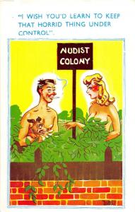 D62/ Nude Comic Dudley Risque Postcard c1940s Boobs Woman Nudist Colony 17
