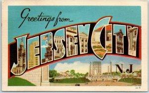 JERSEY CITY New Jersey Large Letter Postcard Multi-View DEXTER Linen Unused