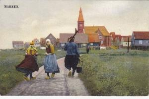 MARKEN, Busy road leading into town, North Holland, Netherlands, 00-10s