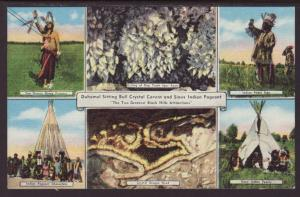 Multi View Bull Crystal Cavern,Sioux Indians Postcard