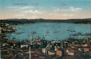 Constantinople harbour panorama vintage postcard Turkey