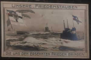 Mint WW 1 Imperial German Navy U Boat Submarine RPPC Postcard our peace doves