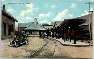 Milford, Mass. Postcard B&S Station Railroad Train Depot Trackside Scene 1913