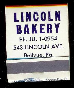 LINCOLN BAKERY 1950's Full Unstruck Matchbook
