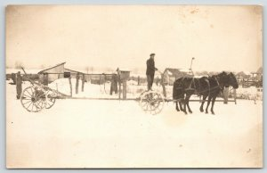 Real Photo Postcard~Pair Black Horse~Farmer on Two Wheeler~Barns in Snow~c1918