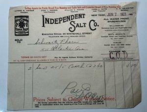 1921 Independent SALT COMPANY Red Cross Table Salt NEW YORK Bill Letterhead