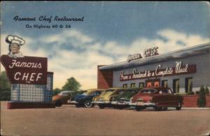 Denver CO Willner Bros Roadside Old Cars Black Man Shef Sign Linen Postcard