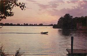 Quincy Illinois~Sunset: Mississippi River Front & Boadway Sts~Motorboat~1960s PC