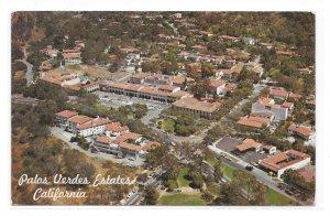 Aerial View Palos Verdes Estates California Shopping Business Area Vntg Postcard