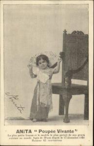 Little Person Dwarf ANITA Poupee Vivante c1915 Postcard