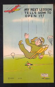 PARACHUTE ARMY PARATROOPER HOW TO OPEN IT VINTAGE COMIC POSTCARD AVIATION