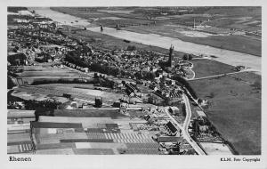 Netherlands Rhenen Town Aerial view Church River Bridge Panorama Postcard