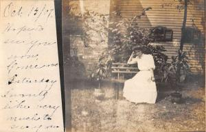 Wheeling West Virginia Woman On Bench Real Photo Antique Postcard K88293