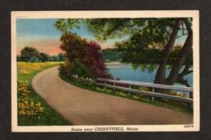 ME Greetings from CHERRYFIELD MAINE Postcard Linen PC