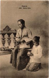 CPA AK INDONESIA DUTCH INDIES - JAKARTA - Batavia - Native Girls (a1774)