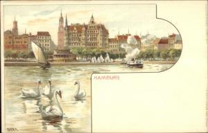 Hamburg Germany Swans & Skyline GEIGER c1900 Lithograph Postcard