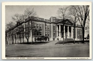 Knoxville Tennessee~High School w/Columns~1940s Postcard (Built in 1920s?) B&W