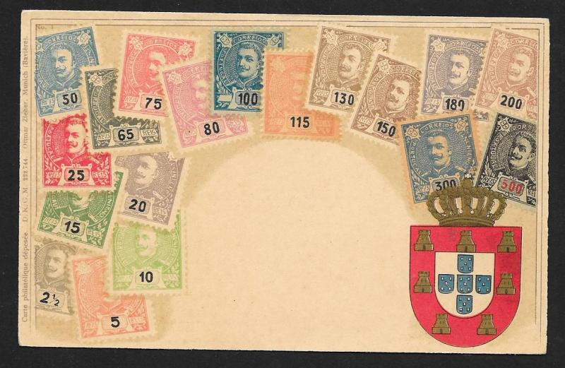 PORTUGAL Stamps on Postcard with Shield Unused c1905
