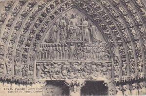 Facade Tympan Du Portail Central, Notre-Dame, Paris, France, 1900-1910s