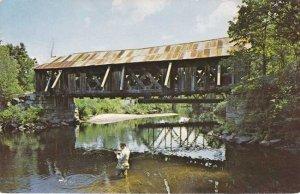 Fishing at Covered Bridge - Warner NH, New Hampshire