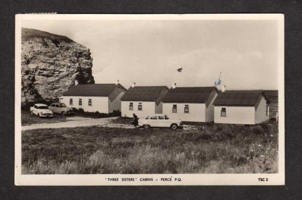QC Three Sisters Cabins Perce Quebec Canada Postcard Carte Postale Real Photo RP