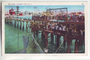 P910 1937 fishing net haul atlantic city new jersey many on lookers