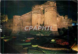 Postcard Modern Wonders of the Loire Valley Angers Maine et Loire castle illu...