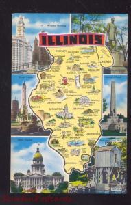 STATE OF ILLINOIS MAP VINTAGE POSTCARD