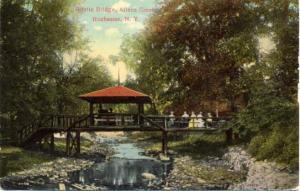 Gazebo on Rustic Bridge at Allens Creek - Rochester, New York - pm 1912 - DB