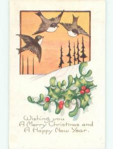 Pre-Linen christmas BIRDS FLY OVER SNOWY LANDSCAPE WITH HOLLY & MISTLETOE J1531