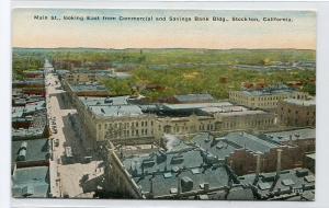 Panorama Main Street Stockton California 1910c postcard