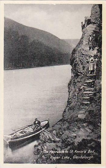 Man On A Boat, The Approach St. Kevin's Bed, Upper Lake, Glendalough (Wicklow...