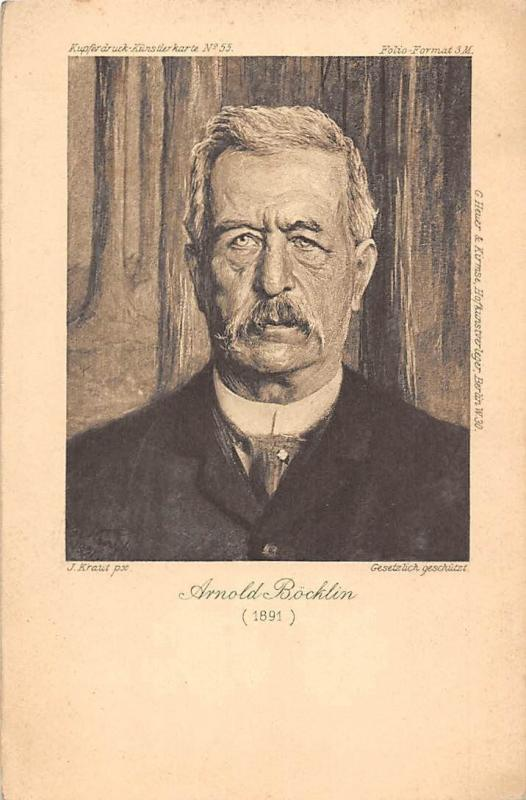 Personality: Arnold Boecklin (1891) Swiss painter, J. Kraut px. Kuenstlerkarte
