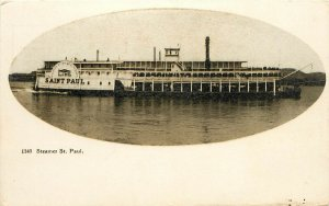Postcard Paddle Wheel Steamer St. Paul on The Mississippi St. Louis Dubuque