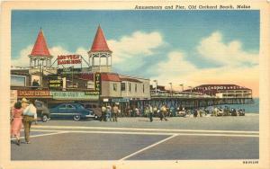 Amusements Pier 1940s Old Orchard Beach Maine Teich linen postcard 9240