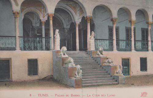 Tunis Tunisia Palais Du Bardo Cour Des Lyons Old Antique Postcard