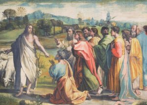 Raphael Christs Charge To Peter V&A Museum Painting Postcard