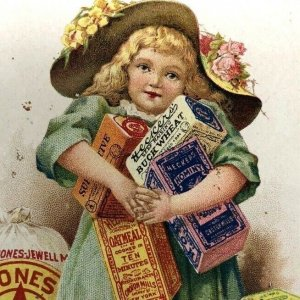 Hecker-Jones-Jewell Milling Company trade card pretty little girl grain packages