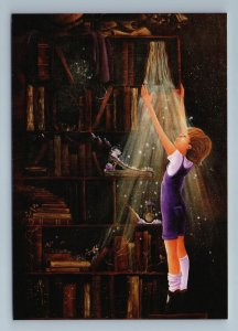 LITTLE BOY in Library Bookcase Book Fantasy World Light Russian New Postcard