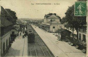 france, FONTAINEBLEAU, La Gare, Railway Station (1910s) Postcard