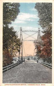 Turners Falls Massachusetts Upper Suspension Bridge Vintage Postcard JA454616
