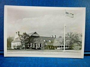 Franklin D. Roosevelt Memorial Library, Hyde Park, New York RPPC American Flag