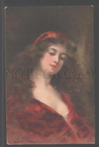 104584 Lady w/ LONG HAIR in Red by Angelo ASTI vintage color
