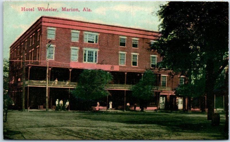Marion Alabama Postcard Hotel Wheeler Building Street View C1910s Unused