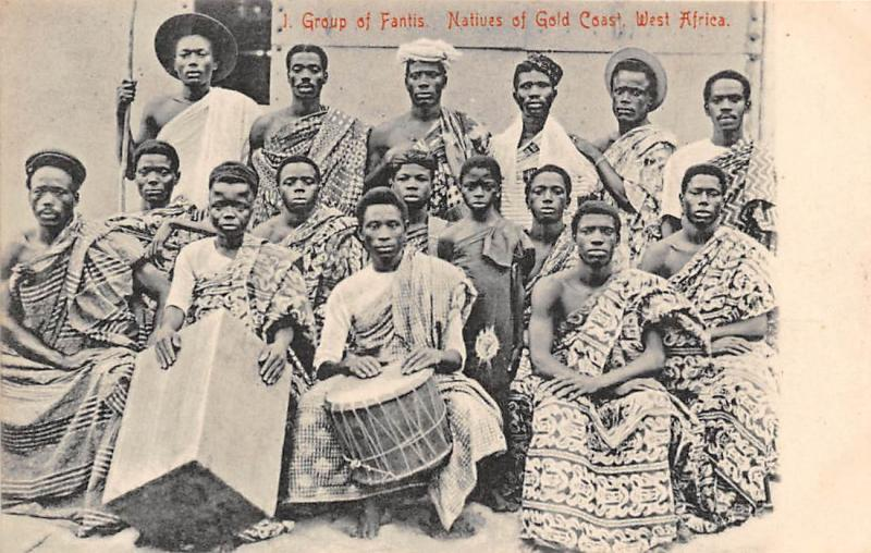 Ghana Gold Coast Group of Fantis natives ,drum postcard